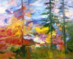 &quot;Landscape Trees&quot;, 1993, oil on canvas, 28 x 40 in