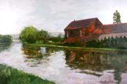 &quot;French Canal #1&quot;, 2003, oil on canvas, 24 x 36 in