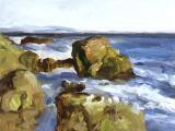 """Santa Cruz Rocks"", 1999, oil on canvas, 12 x 16 in"